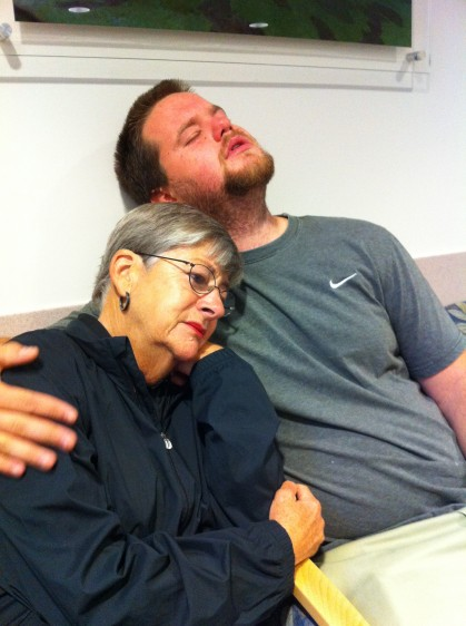 As he was being prepped for surgery... Zack and Grandma Sue consoling each other